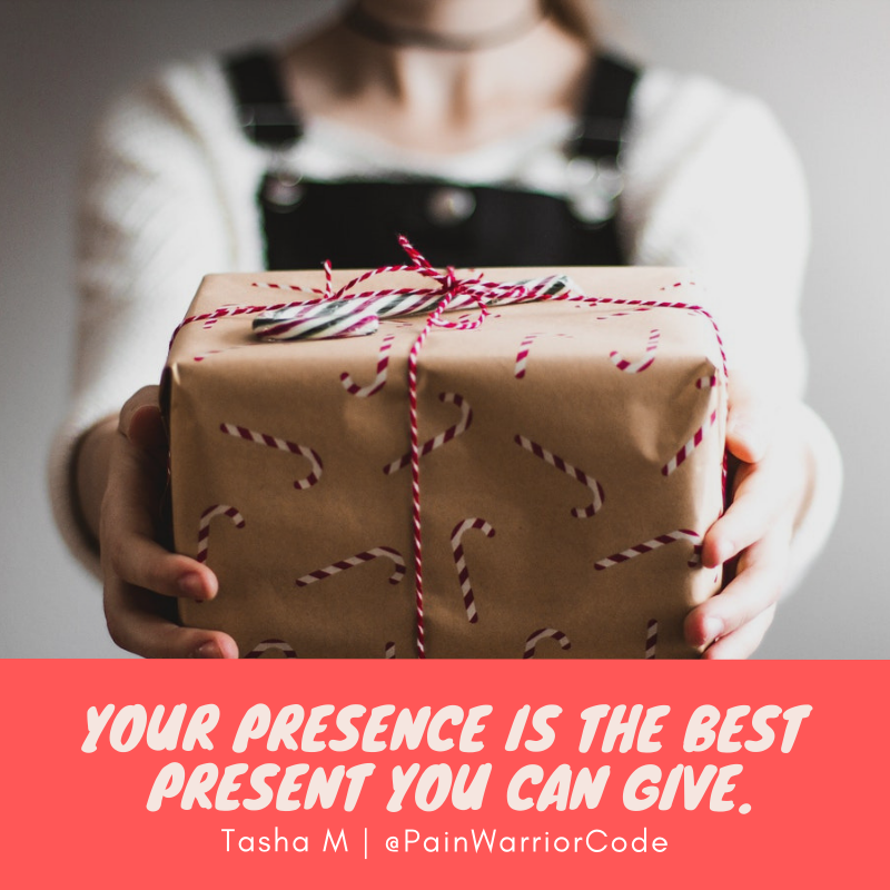 This is an image that reads; your presence is the best present you can give.
