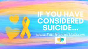Title Header that reads 'If you have considered suicide...'